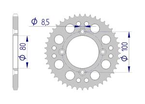 Kit trasmissione Alluminio HONDA XR 70 R 1998-1999 Rinforzata