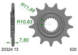 Kit trasmissione Alluminio HONDA CRF 250 R 2018 Standard Xs-ring