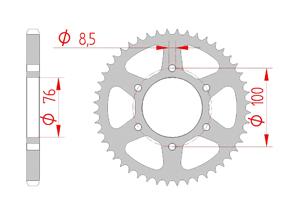 Kit trasmissione Acciaio YAMAHA MT-125 2015-2016