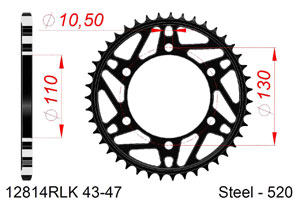 Kit trasmissione Acciaio SUZUKI GSXR 1000 #520 RAC 2017-2018 Iper Rinforzata Xs-ring