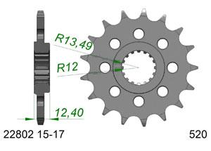 Kit trasmissione Acciaio SUZUKI GSXR 1000 #520 RAC 2017-2018
