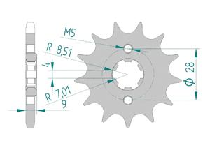 Kit trasmissione Acciaio APRILIA 125 TUONO 2017-2018 Rinforzata