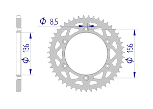Kit trasmissione Alluminio SHERCO SE-R 125 2018 Standard Xs-ring