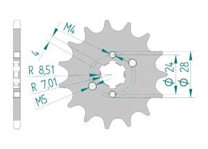 Kit trasmissione Acciaio DERBI 50 SM XTREME-RACING 2018-2019 MX Racing