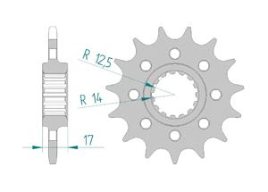 Kit trasmissione Acciaio DUC 1199 PANI R 13-15 PCD4 #520