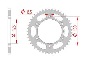 Kit trasmissione Acciaio KTM XC-W 125 2017-2019 MX rinforzato