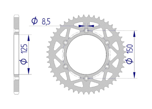 Kit trasmissione Alluminio KTM XC-W 125 2017-2019 MX rinforzato