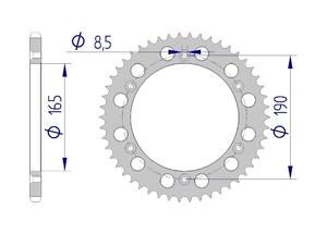 Kit trasmissione Alluminio KTM GS 250 1986 Standard Xs-ring