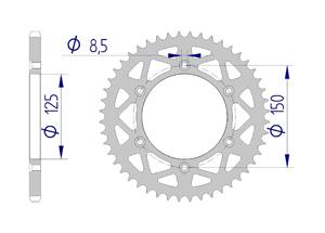 Kit trasmissione Alluminio KTM SX 250 2017-2019 Rinforzato di più Xs-ring