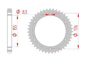 Kit trasmissione Acciaio TRIUMPH TIGER 1050 SPORT 14-16