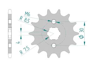 Kit trasmissione Acciaio SKYTEAM 125 SKYMAX PRO 2014-2016 Standard