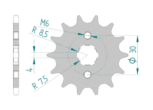 Kit trasmissione Acciaio HONDA ST 50 DAX Standard