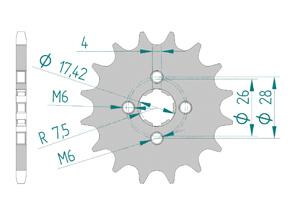 Kit trasmissione Acciaio HONDA MBX 50 Standard
