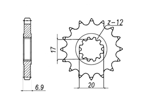 Kit trasmissione PEUGEOT XPS50 SM [6 x Ø8.5]