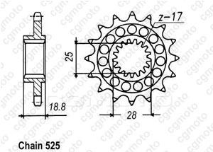 Kit trasmissione Aprilia Rsv 1000 R/Sl/Sp