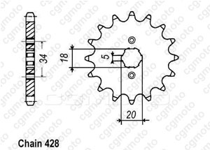 Kit trasmissione Honda Cb 125 K5